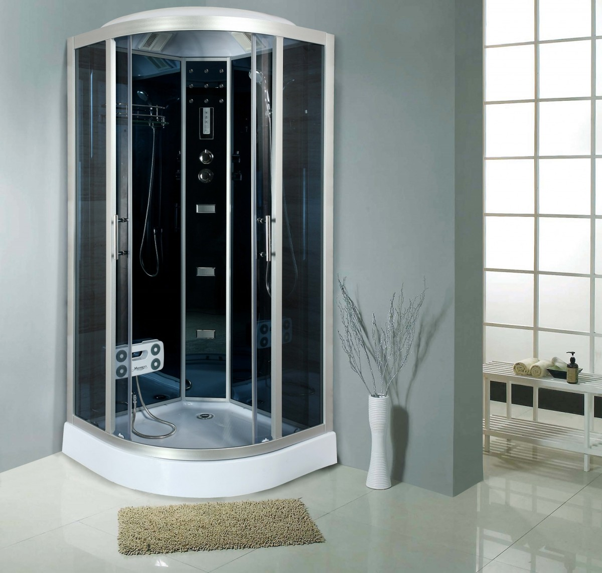 cabine de douche compl te sanifun savio 90 x 90. Black Bedroom Furniture Sets. Home Design Ideas